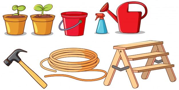 Ensemble d'outils de jardinage isolés