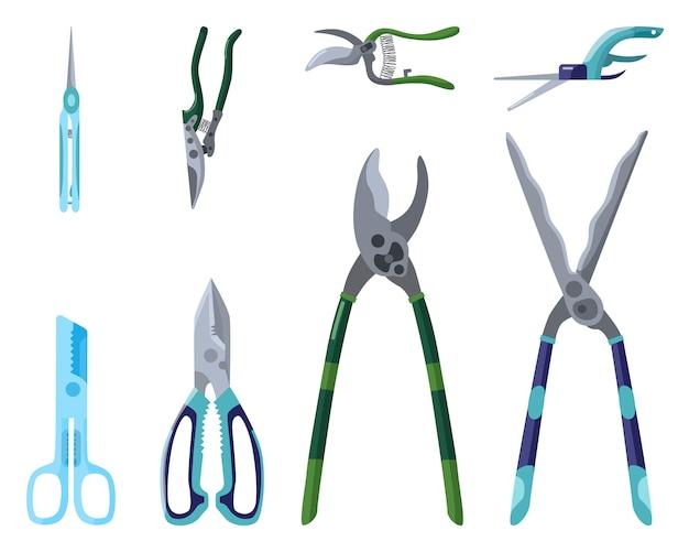 Ensemble d'outils de jardinage professionnels pour la coupe et l'entretien des arbres sur fond blanc. sécateur en style plat isolé.