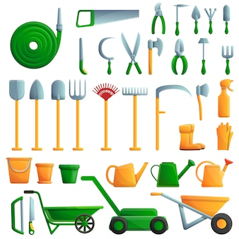 Ensemble d'outils de jardinage, style cartoon