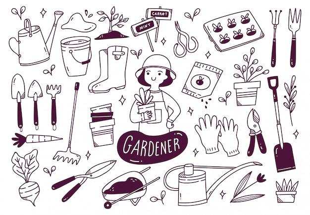 Ensemble d'outils de jardinier dans le style doodle