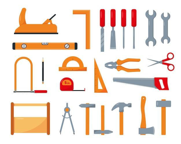 Ensemble d'outils de menuisier ou de réparation isolé sur fond blanc.