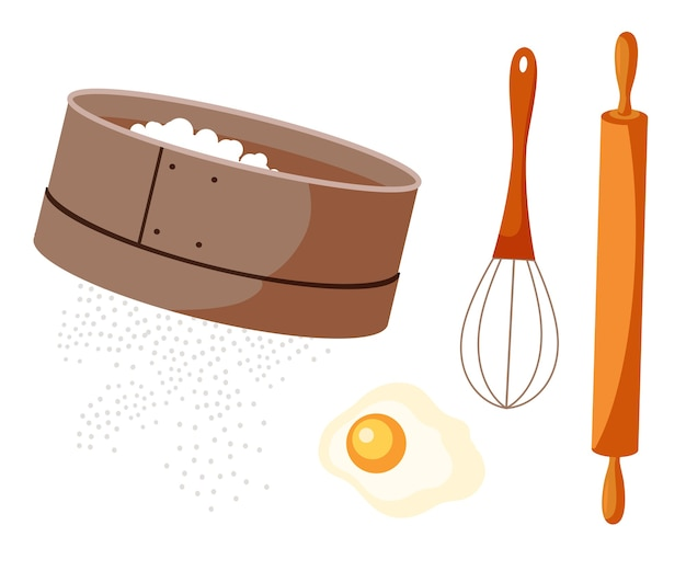 Ensemble d'outils de pâtisserie isolé sur blanc