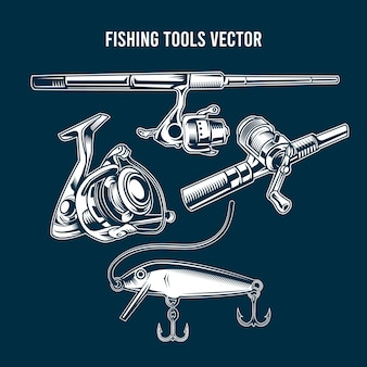 Ensemble d'outils de pêche bleus
