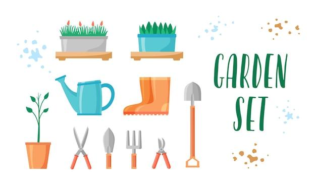 Ensemble d'outils et de plantes de jardin matériel et articles de jardinage bottes ciseaux pelle fourche sécateurs