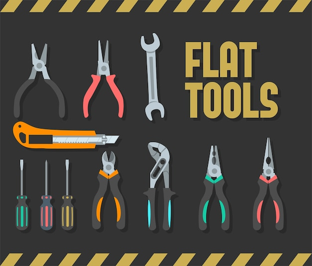 Ensemble d'outils plats colorés