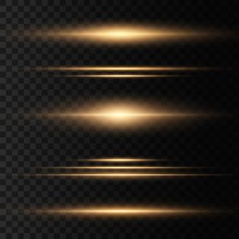 Ensemble de pack de fusées éclairantes horizontales jaunes. faisceaux laser, rayons lumineux horizontaux. belles fusées lumineuses. stries rougeoyantes sur fond sombre. fond rayé étincelant abstrait lumineux.