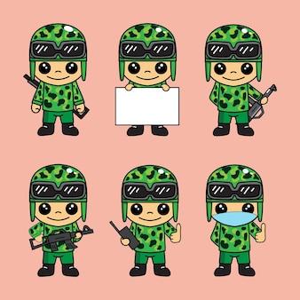 Ensemble de pack d'illustrations mignonnes de mascotte de personnage de dessin animé d'armée ou de soldat avec diverses poses