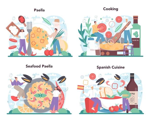 Ensemble de paëlla. plat traditionnel espagnol avec fruits de mer et riz sur une assiette. chefs cuisinant une cuisine gastronomique saine. illustration vectorielle isolée en style cartoon