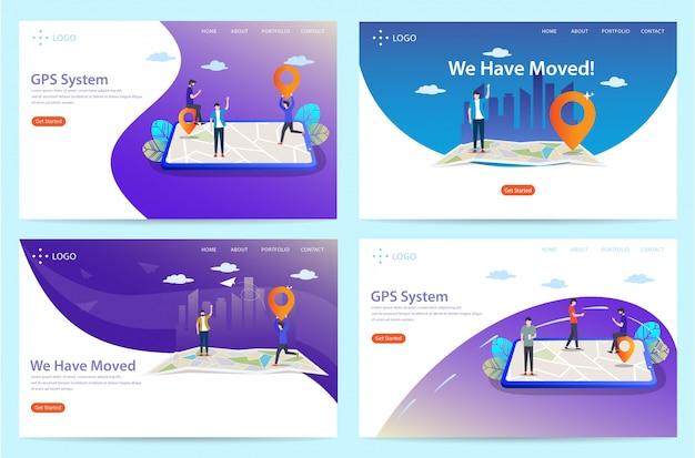 Ensemble de page d'atterrissage avec thème d'emplacement, illustration