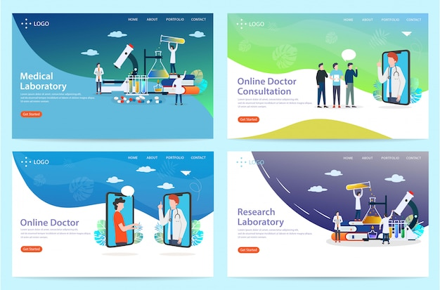 Ensemble de page d'atterrissage avec des thèmes de santé, illustration