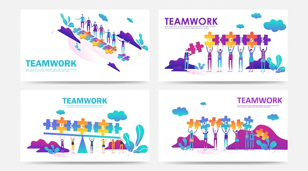Ensemble de page de destination et concept de travail d'équipe de page web avec puzzle par employé de l'entreprise
