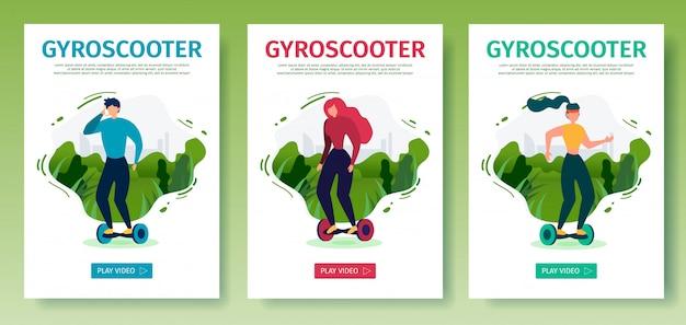 Ensemble de pages d'atterrissage mobiles offre un gyroscooter à cheval