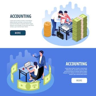 Ensemble de pages de destination de bannière de page web isométrique horizontale de comptabilité
