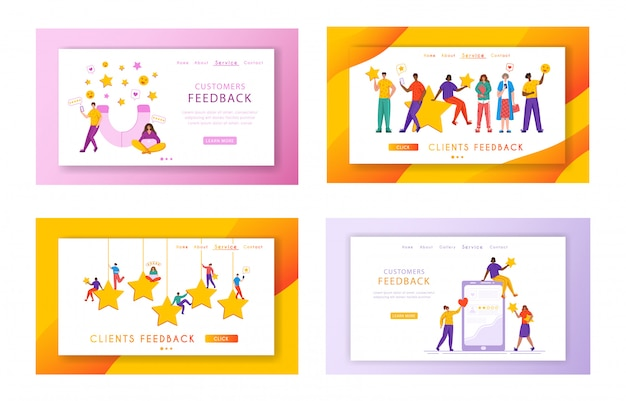 Ensemble de pages de destination des commentaires des clients - minuscules personnes et étoiles de notation géantes, gadgets, bannière web avec espace de copie