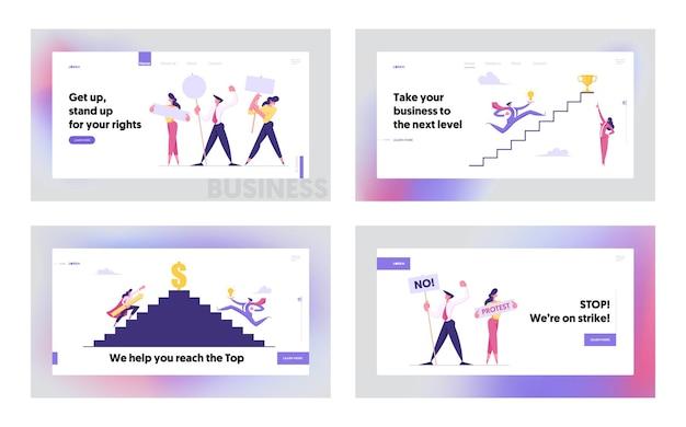 Ensemble de pages de destination de concept de site web de défi