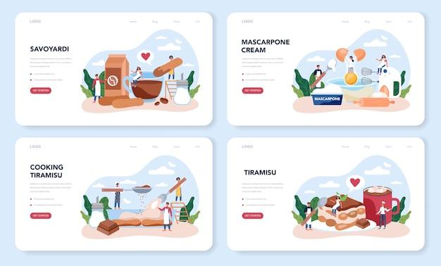 Ensemble de pages de destination de desserts tiramisu