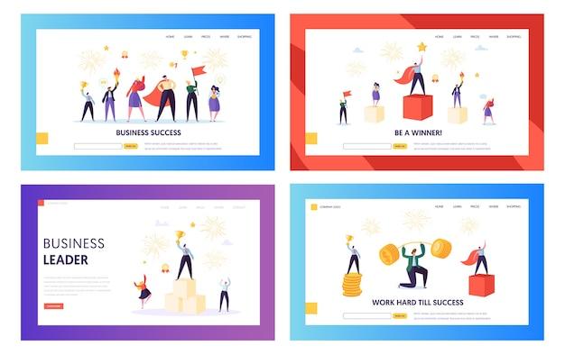 Ensemble de pages de destination du concept de réussite commerciale gagnant. chef d'entreprise entrepreneur. bonne réussite de l'équipe avec le gestionnaire détenant le site web ou la page web du gagnant du prix. illustration vectorielle de dessin animé plat