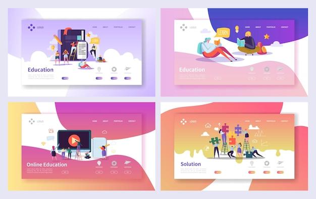 Ensemble de pages de destination du cours d'éducation en ligne.