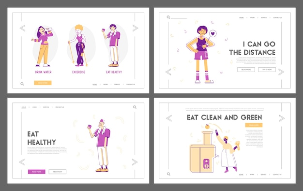 Ensemble de pages de destination du site web sport et alimentation pour la santé