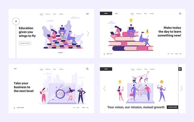 Ensemble de pages de destination global business concept