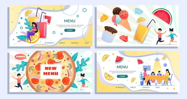 Ensemble de pages de destination plat annonçant un nouveau menu d'été