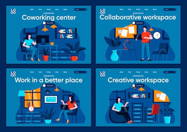Ensemble de pages de destination plates de l'espace de travail collaboratif. les personnes travaillant dans des scènes de lieu contemporaines et confortables pour le site web ou la page web cms centre de coworking, illustration de l'espace de travail créatif.