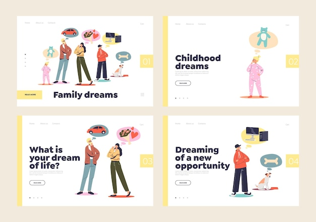 Ensemble de pages de destination pour le concept de rêve familial avec couple marié et enfants