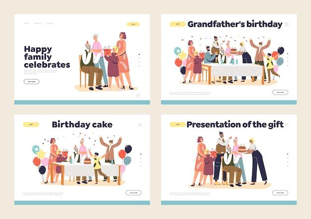 Ensemble de pages de destination pour la fête de la famille d'anniversaire de grand-père