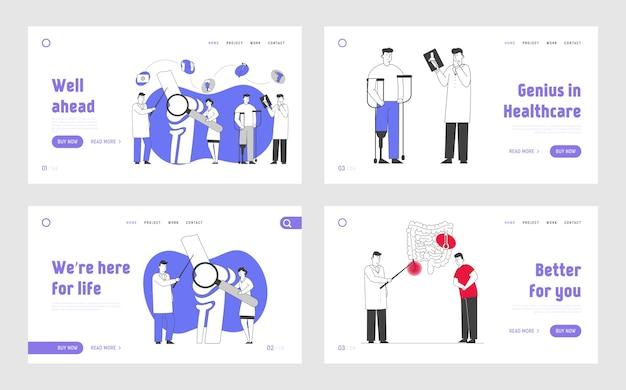 Ensemble de pages de destination de site web de soins de santé