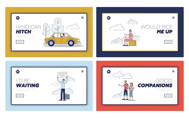 Ensemble de pages de destination avec des voyageurs en auto-stop ramassant des voitures sur la route.