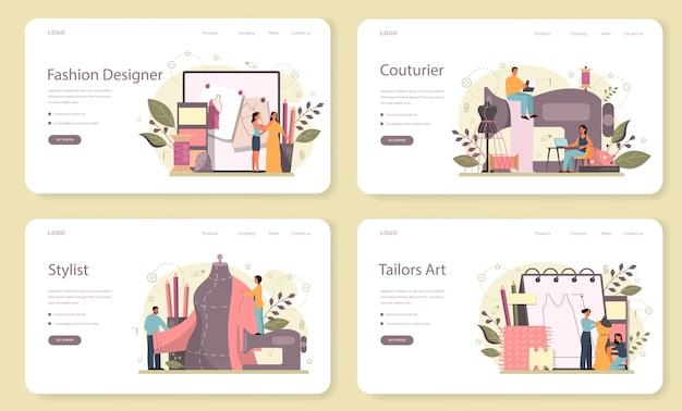 Ensemble de pages de destination web de créateur de mode. vêtements de maître professionnel. couturière travaillant sur une machine à coudre électrique et prenant des mesures. illustration vectorielle