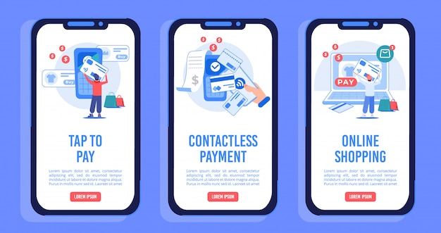 Ensemble de pages d'écran mobile à bord pour les achats en ligne