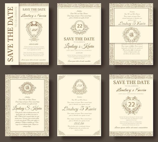 Ensemble de pages de flyer de luxe avec ornement logo
