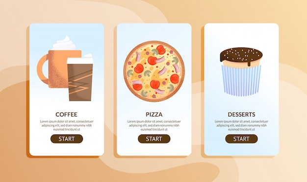 Ensemble de pages mobiles de café en ligne et de service de livraison