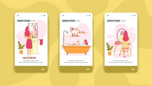 Ensemble de pages mobiles de procédure d'hygiène féminine personnelle