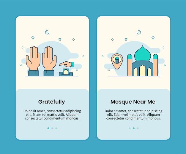 Ensemble de pages mobiles avec reconnaissance et mosquée à proximité