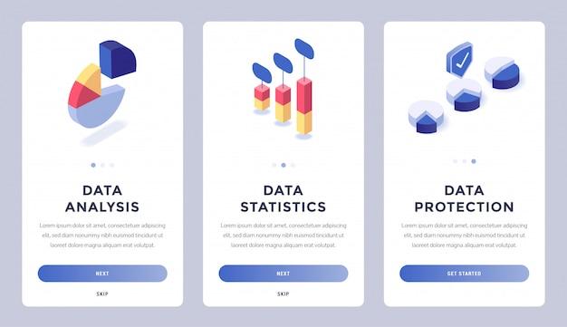 Ensemble de pages de site web mobile de données