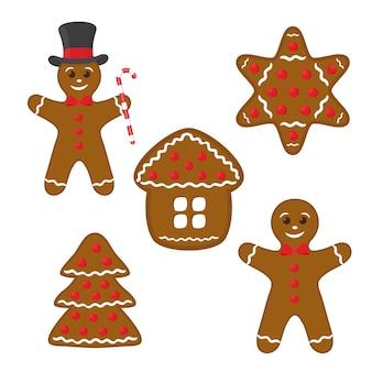 Ensemble de pain d'épice - biscuit, maison, étoile et pin.
