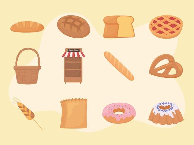 Ensemble de pain frais