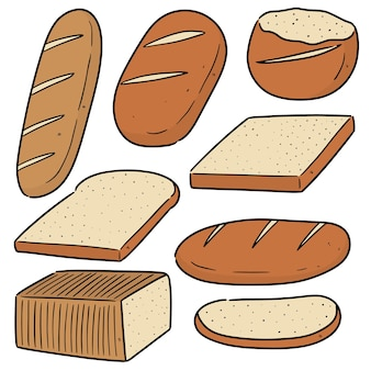 Ensemble de pain isolé sur blanc