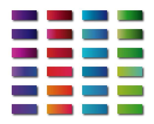 Ensemble de palette de couleurs foncées brillantes de dégradés