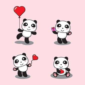 Ensemble de panda mignon de bande dessinée avec amour et cadeau