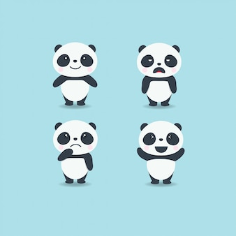Ensemble de panda mignon émotion