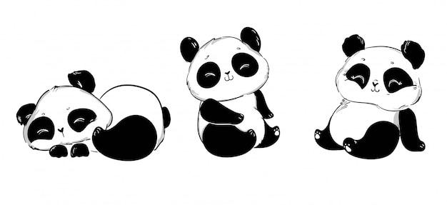 Ensemble de panda mignon. illustration. imprimé enfant sur t-shirt.