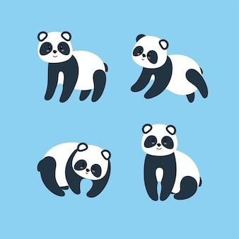 Ensemble de pandas impressionnants. illustration vectorielle dans un style plat sur fond bleu