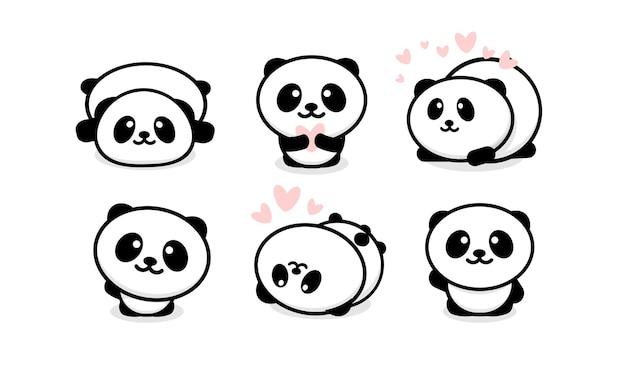 Ensemble de pandas sympathiques et mignons. collection de panda de dessin animé.