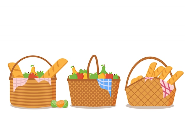 Ensemble de panier de pique-nique plein de nourriture sur fond blanc. la collection de paniers de pique-nique est pleine de délicieux fruits et pain pour les repas en plein air. concept de design de pique-nique.
