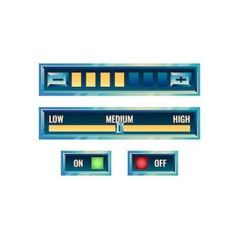 Ensemble de panneau de configuration de l'interface utilisateur de jeu brillant fantastique avec bouton marche / arrêt et menu de progression
