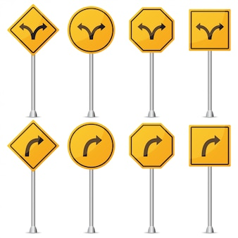 Ensemble de panneau de signalisation jaune tourner. illustration vectorielle