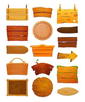 Ensemble de panneaux en bois de dessin animé
